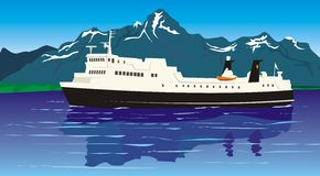 Travel - ferry boat. To cross the fiord by ferry, fiord magic, splendit scenery, passenger ship Stock Photos