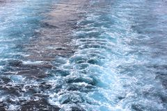 Travel by ferry.  TRACE ON WATER. Royalty Free Stock Images