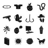 Travel, finance, education and other web icon. Travel, finance, education and other  icon in black style.medicine, computer, army icons in set collection Stock Photography