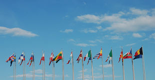 Travel flags Royalty Free Stock Photos