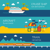 Travel flat banners set of cruise ship, aircraft, train Royalty Free Stock Image