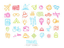Travel flat color icons Royalty Free Stock Photos