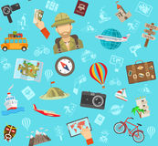 Travel Flat Color Pattern Stock Photo