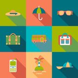 Travel flat coloured Icons with shadow Royalty Free Stock Images