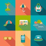 Travel flat coloured Icons with shadow Stock Photo