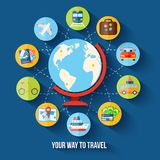 Travel flat concept Royalty Free Stock Photo