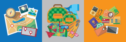 Travel flat design banner set with bag, passport, glasses, mask, shirt, compass, hat, bikini and other. Stock Photography
