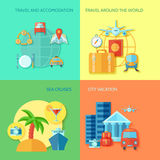 Travel Flat Icon Set Stock Photos