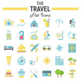 Travel flat icon set, tourism symbols collection Stock Images