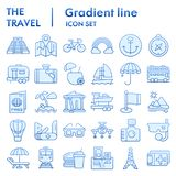 Travel flat icon set, tourism symbols collection, vector sketches, logo illustrations, holiday signs blue gradient. Pictograms package isolated on white stock illustration