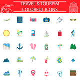 Travel flat icon set, Travel symbols collection, logo illustrations, transportation filled on white background. Travel flat icon set on white background Royalty Free Illustration