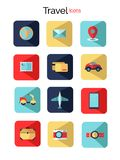 Set with travel flat icons. Beautiful element for your travel design. stock illustration