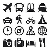 Travel flat icons. Black Stock Images