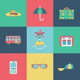 Travel flat Icons set Royalty Free Stock Images