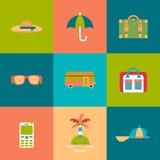 Travel flat Icons set Stock Photos