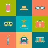 Travel flat Icons set Royalty Free Stock Photo