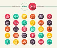 Travel flat icons set vector illustration