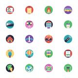 Travel Flat Icons Set. Looking for some tourism-themed or travel icons to add to the design of travel site? These are icons fit for use in travel sites, booking Stock Images