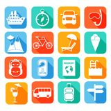 Travel Flat Icons Set Stock Photo