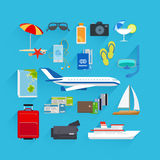 Travel flat icons Royalty Free Stock Images