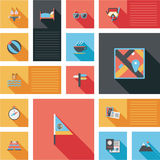 Travel flat icons vector ui with long shadow Stock Photo