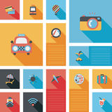 Travel flat icons vector ui with long shadow Stock Images