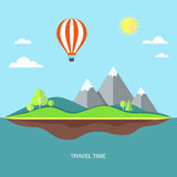 Travel flat illustration with landscape Stock Image