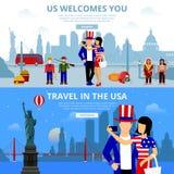 Travel flat illustration USA landmarks People New Stock Image