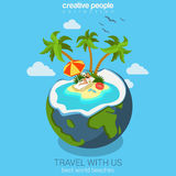 Travel flat isometric concept for beach island in the coconut Stock Photo