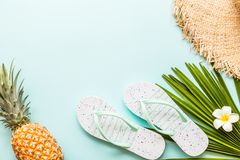 Travel flat lay items: fresh pineapple, beach slippers, tropical flower and palm leaf lying on blue background. Place for text. stock images