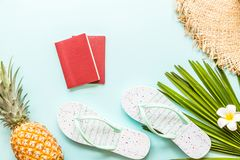 Travel flat lay items: fresh pineapple, beach slippers, tropical flower and palm leaf. Place for text. Top view. Summer concept royalty free stock photos