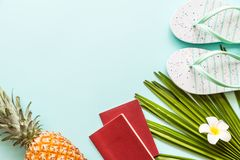 Travel flat lay items: fresh pineapple, beach slippers, tropical flower and palm leaf. Place for text. Top view. Summer concept stock image