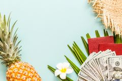 Travel flat lay items: fresh pineapple, flower, cash money, passport,, beach slippers and palm leaf. Place for text. Top view royalty free stock images