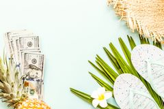 Travel flat lay items: one hundred dollars bills, beach slippers, fresh pineapple, tropical flower and palm leaf lying on green royalty free stock photography