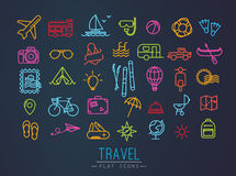 Travel flat neon icons Stock Photos