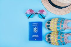 Travel flatlay with passport Royalty Free Stock Photos