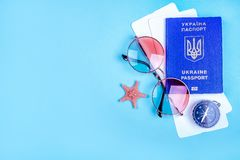 Travel flatlay with passport stock photo