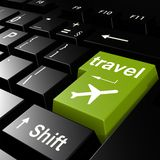 Travel with flight on green keyboard Royalty Free Stock Photo