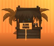 Travel, flight, vacation in tropical labeled Aloha Hawaii. Greeting for tourists and guests of the island of Hawaii. Beach house with drinks, cocktails, resort royalty free illustration