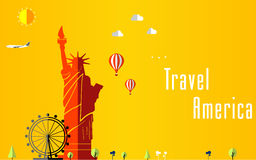Travel and Flights background for tourist, holidays and vacation, america, london travel background Royalty Free Stock Photos