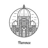 Travel Florence Icon. Santa Maria del Fiore is one of famous landmarks and tourist attractions in capital city of Tuscany region, Italy. Domed Cathedral of Stock Photos