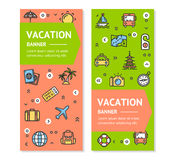 Travel Flyer Banner Placard Set. Vector Royalty Free Stock Images