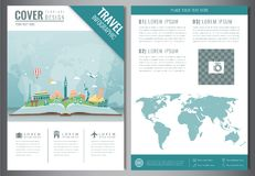 Travel flyer design with famous world landmarks. Brochure headline for Travel and Tourism. Vector. Illustration Royalty Free Stock Photo