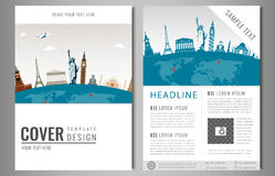 Travel flyer design with famous world landmarks. Brochure headline for Travel and Tourism. Vector. Stock Photos
