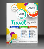 Travel Flyer. Magazine Cover & Poster Template Stock Images