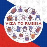 Travel flyer Visa to Russia. Colorful russian icons on a flag background. Flat circle infographics. Matryoshka doll, vodka and food, samovar, balalaika, bear Stock Images