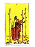 3 Three of Wands Tarot Card Travel Foreign Lands Growth Moving Forward with Plans Looking to the Future  Good Fortune. Travel Foreign Lands Growth Moving Forward Royalty Free Stock Photo