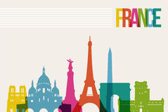 Travel France destination landmarks skyline illustration. Travel France famous landmarks skyline multicolored design background. Transparency vector organized in Royalty Free Stock Image