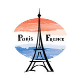 Travel France label Paris famous building Eiffel tower French fl Stock Image