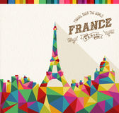 Travel France polygonal skyline Stock Photos